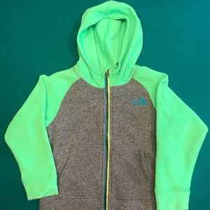 Boys green and gray North Face fleece - 3T